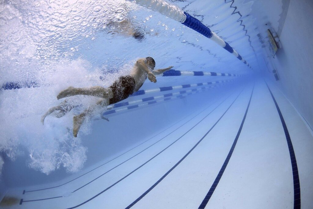 swimmers, swimming, race